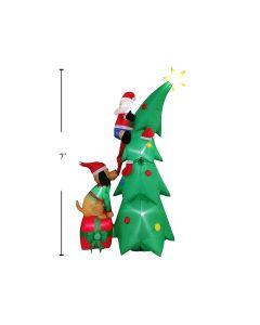 Christmas Airblown 5- LED Light-Up Xmas Tree with Santa & Dog ~ 7'