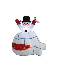 Christmas Inflatable 2- LED Light-Up Igloo with Rising Snowman ~ 4'