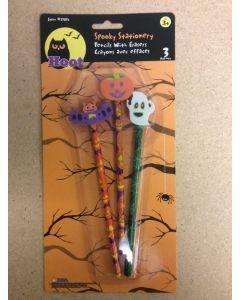 Halloween Pencils w/Eraser Tops ~ 3 per pack