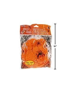 Halloween Orange Spider Web w/2 Black Spiders