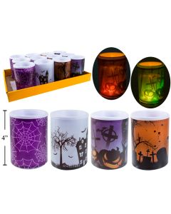 "Halloween LED Flickering Pillar Candle ~ 3"" x 4"""