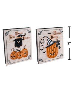"Halloween Wooden Wall Block Decoration ~ 8"" x 6"""
