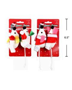 Christmas Plush Mice with Santa Hat and Catnip