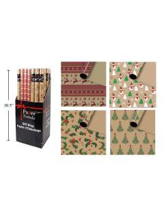 "Christmas Single Roll Krafl Wrapping Paper ~ 30"" x 72"""
