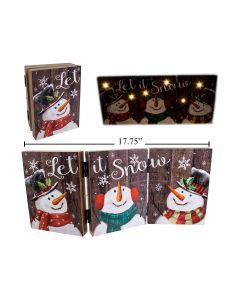 Christmas Snowman MDF Light-Up Tri-Fold Screen