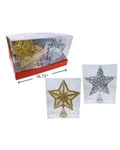 """Christmas Metal Glitter Star Tree Topper ~ 9.5"""""""