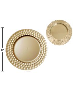 """Christmas Gold Plastic Charger Plate ~ 13""""D"""