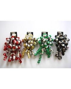 """Christmas 6"""" 2-Tone Laser Bow with Curl Swirl ~ 4 assorted colors"""
