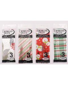 Christmas Printed Foil Flat Wrap ~ 3 per pack