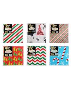 Christmas Printed Flat Wrap ~ 4 per pack