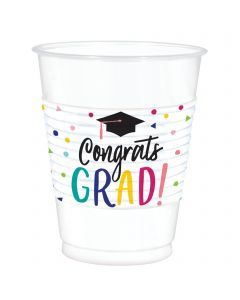 """Grad """"Congrats Grad"""" Plastic Cups - 16oz ~ 25 per pack"""