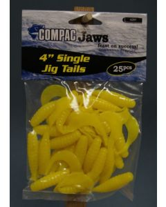 "Compac 4"" Single Jig Tails ~ Yellow"