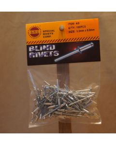 """Aluminum/Steel Rivets - 100/bag ~ 1/8"""" x 5/16"""""""