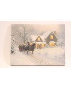 "Christmas Framed Print with LED Lights - Winter Sleigh ~ 16"" x 12"""
