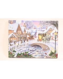 "Christmas Framed Print with LED Lights - Winter Village ~ 16"" x 12"""