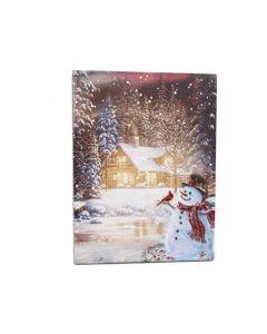 "Christmas Framed Print with LED Lights - Snowman with Cardinal ~ 16"" x 12"""
