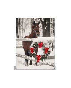 """Christmas Framed Print with LED Lights - Christmas House Front ~ 16"""" x 12"""""""