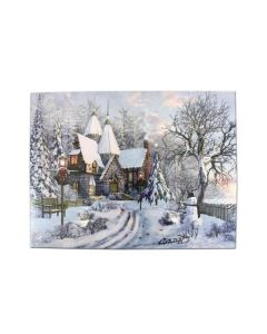 """Christmas Framed Print with LED Lights - House with Snowman ~ 16"""" x 12"""""""