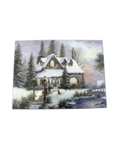"Christmas Framed Print with LED Lights - Christmas Mansion ~ 16"" x 12"""