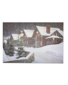 "Christmas Framed Print with LED Lights - Village ~ 24"" x 16"""