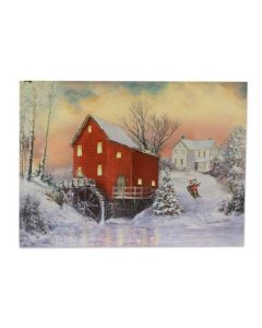 """Christmas Framed Print with LED Lights - Mill ~ 16"""" x 12"""""""
