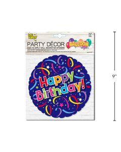 Wall Decor - Balloon Look Happy Birthday Blue Circle