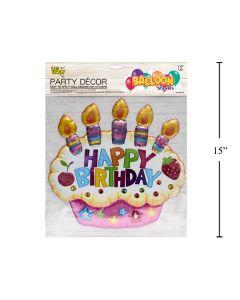 Wall Decor - Balloon Look Happy Birthday Cupcake