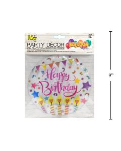 Wall Decor - Balloon Look Happy Birthday Clear Circle