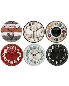 """Vintage MDF Wall Clock - 13"""" Round ~ 6 assorted"""