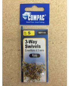 Compac Brass Barrel 3-Way Swivel