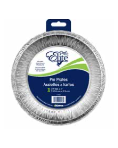 "Chef Elite Foil Pie Plates - 9"" dia x 1"" ~ 3 per pack"