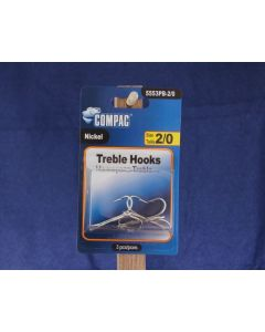 Nickel Treble Hooks - Size 2/0 ~ 3 per pack