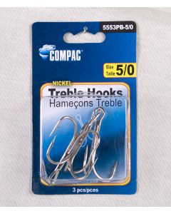 Nickel Treble Hooks - Size 5/0 ~ 3 per pack