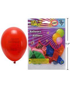 "9"" Round Balloons - Happy Birthday ~ 12 per pack"