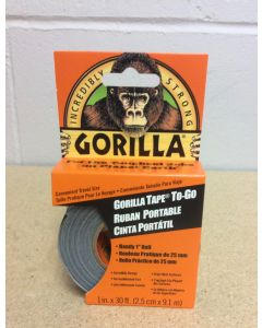 """Gorilla Tape To-Go ~ 1"""" x 30' ~ Handy Pack ~ Clipstrip of 8"""