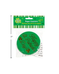 St. Patrick's Day Paper Coasters ~ 12 per pack