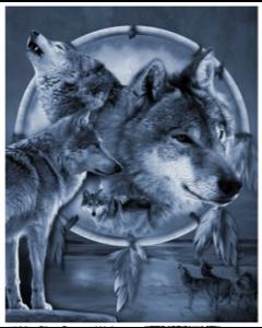 Blue Dream Wolves Micro Mink Throw