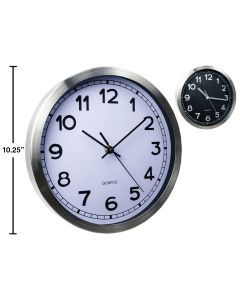 """Brushed Metal Wall Clock - 10.25"""" Round ~ 2 assorted"""