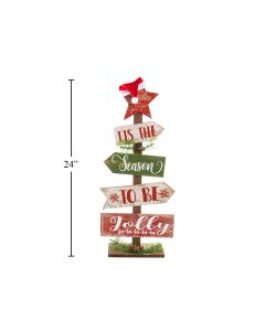 """Christmas Wooden Plank Tree with Santa Hat ~ 24""""T"""