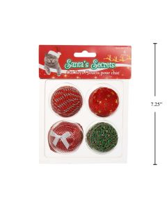 Christmas Cat Ball Toys ~ 4 per pack