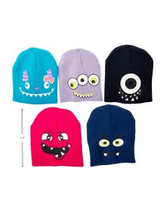Kid's Knitted Beanie Hat with Monster Face