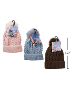 Kid's Knitted Toque with Cuff & Pom Pom