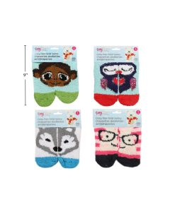 Kid's Cozy Animal Face Non-Skid Socks