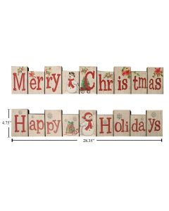 "Christmas MDF Accordion Look Xmas Sign ~ 4.75"" x 28.35"""