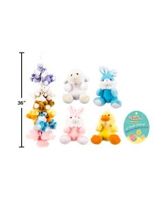 """Easter 6"""" Plush Animals w/Bows ~ 4 assorted"""