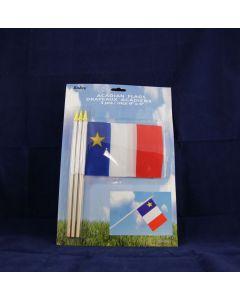 "Acadian Flag w/Stick - 4"" x 6"" ~ 3 per pack"