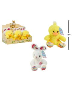 """Easter 7"""" Plush Emroidered Animal with Flower Design ~ 2 assorted"""