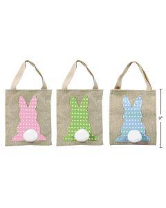 "Easter Burlap Bunny with Pom Pom Tail Bag ~ 7"" x 9"""