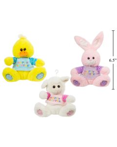 """Easter 6.5"""" Plush Animal with Sweater ~ 3 assorted"""