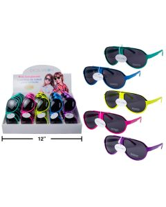 Excel Vision Kid's Neon Aviator Sunglasses w/Case ~ Display of 30